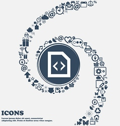 Script icon sign in the center around the many vector