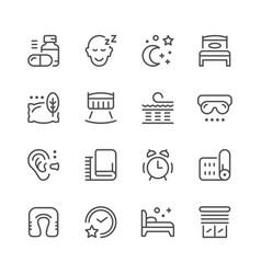 set line icons of sleep vector image vector image