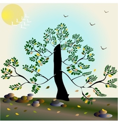 Stylish autumn composition with tree vector image vector image