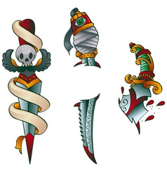 tattoo daggers vector image