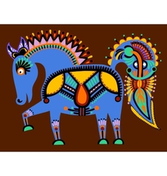 ukrainian tribal ethnic painting unusual horse vector image vector image