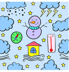 Weather style doodles vector