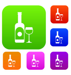 wine and glass set collection vector image vector image