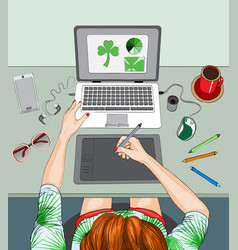 Woman working at the laptop remote work vector