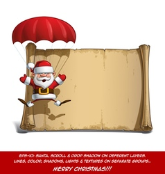 Happy santa scroll parachute open hands vector