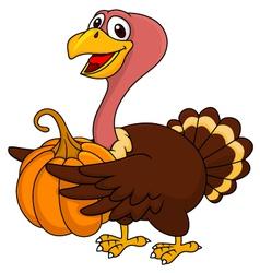 Turkey cartoon with pumpkin vector image