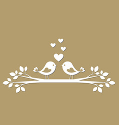 cute birds with hearts cutting from paper vector image