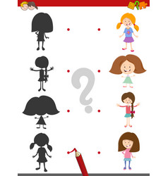 Shadow activity game with girls vector