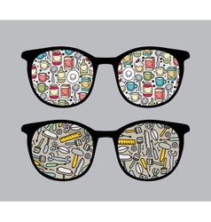 Retro sunglasses with tools reflection in it vector image