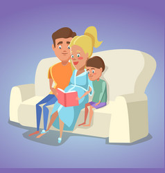 pregnant mother and dad reading a book for son vector image