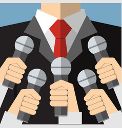 Press conference with media microphones vector