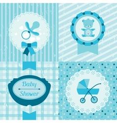Boy baby shower invitation cards vector image