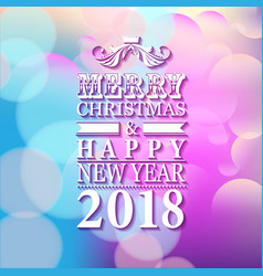 2018 merry christmas and happy new year card or vector