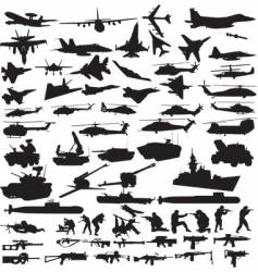 military icons silhouettes vector image