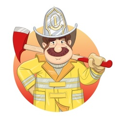 Fireman in uniform with ax vector
