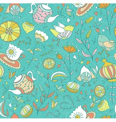 Teasweets bird and flowers Seamless doodle pattern vector image