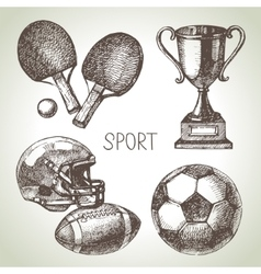 Hand drawn sports set sketch sport balls vector