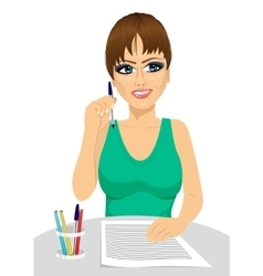 attractive secretary thinking concept vector image