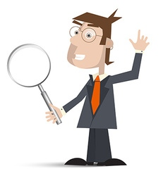 Man in suit with magnifying glass isolated on vector