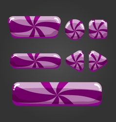 Set striped button in cartoon style-8 vector