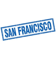 San francisco blue square grunge stamp on white vector