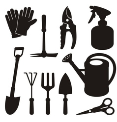 Gardening silhouettes vector