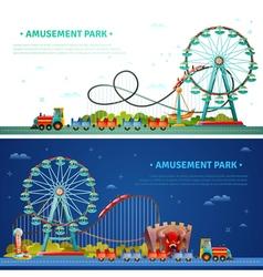Amusement park horizontal banners vector