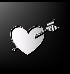 Arrow heart sign gray 3d printed icon on vector