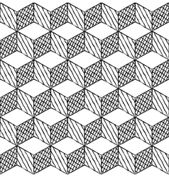 Black and white cubes puzzle seamless pattern vector