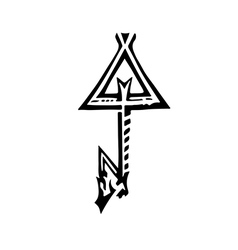 Black and white drawing of a key Emblem of key vector image