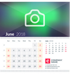 Calendar for june 2018 week starts on sunday 2 vector