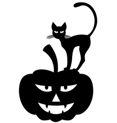 Cat pumpkin vector