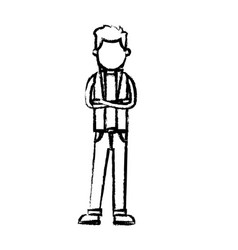 character man standing wear vest style sketch vector image