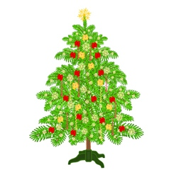 Christmas decoration tree with ribbon vector image
