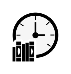 Clock and book stack icon vector