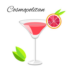 Cosmopolitan cocktail isolated on white vector