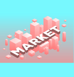 creative of three dimensional word market with vector image vector image