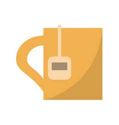 Cup tea hot break office work vector