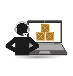 Delivery call centre operator online boxes vector