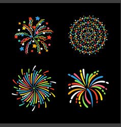 Firework different shapes colorful festive vector
