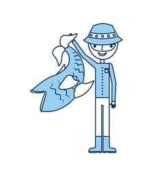 fisherman with big fish avatar character vector image