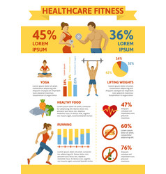 flat healthy lifestyle infographic concept vector image vector image