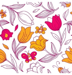 Floral pattern with butterflies and tulips vector image
