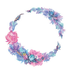 Floral wreath in indigo and pink vector