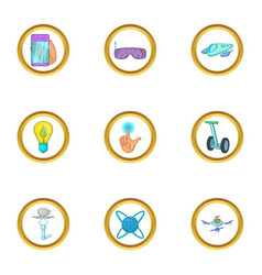 Future gadget icon set cartoon style vector