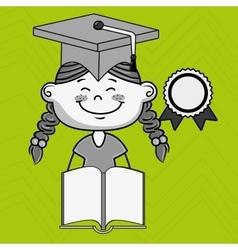Girl student book cap vector