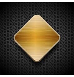 gold brushed panel on black mesh background vector image