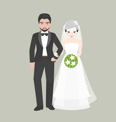 groom walk arm in arm with bridge vector image