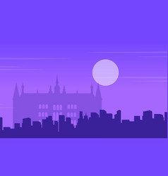guidhall london at night landscape collection vector image vector image