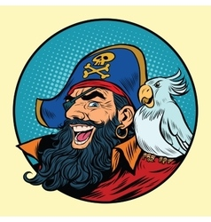 Happy pirate with a parrot on his shoulder vector